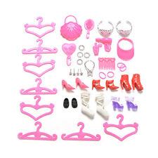 45 Pcs/Set  Doll Accessories Shoes Bag Hanger Comb Bracelet For Barbie Dolls MW