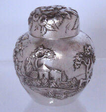 S. Kirk & Son Landscape Castle Repousse Sterling Silver Tea Caddy Rare