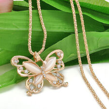 Rose Gold butterfly Pendant Long Chain Sweater Necklace Fashion Womens Jewelry