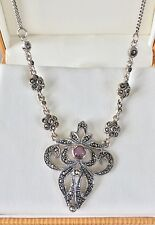 Amethyst And Marcasite Necklace Silver Vintage