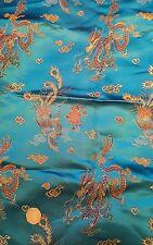 Azul Turquesa Dragón Phoenix Chino de seda shantung Brocade Fabric 80cm X 60cm