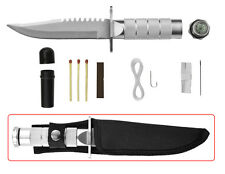 "8"" Stainless Steel Survival Hunting Knife W/ Sheath Survival Kit W/ Compass NEW"
