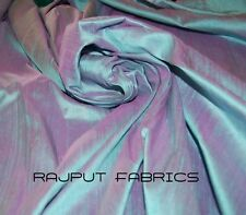100% Natural Silk Dupioni Fabric Blue Pink Fuchsia Iridescent * BY THE YARD *
