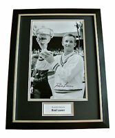 ROD LAVER HAND SIGNED & FRAMED AUTOGRAPH PHOTO DISPLAY TENNIS LEGEND GIFT & COA