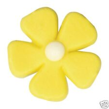 12 EDIBLE SUGAR YELLOW FLOWERS IDEAL FOR EASTER AND SUMMER CAKE DECORATING