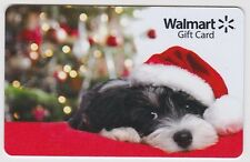 WalMart Christmas Black White Puppy Santa Hat Holiday 2015 Gift Card FD-48542