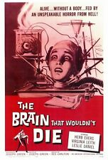 THE BRAIN THAT WOULDN'T DIE Movie POSTER 27x40 Herb Evers Virginia Leith Adele