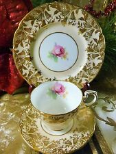 PARAGON COFFEE CUP AND SAUCER TRIO PALE PEACH PINK ROSE FLORAL GOLD TRIM c1939