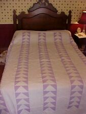 1930s PIECED QUILT; ROWS of TRIANGLES in PURPLE