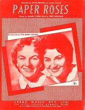 THE BARRY SISTERS - PAPER ROSES - VINTAGE SHEET MUSIC - AUSTRALIA