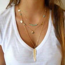 Woman Irregular Multilayer Gold Feather Pendant Chain Chic Statement Necklace