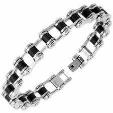 Men's Stainless Steel & Black Rubber Bike Chain Bracelet by Urban Male Jewellery
