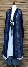 LAGENLOOK AMAZING QUIRKY SUMMER CROCHET LONG CARDIGAN/COAT*NAVY* SIZE 14-22