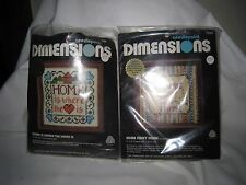Lot of 2 Dimensions Needlepoint Kits Home Sweet Home is Where The Heart Is NOS