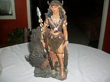 Native American Warrior with Buffalo Large Resin Figure