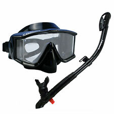 Professional Tri-View Dive Set, Panoramic Purge Mask Ultra Dry Snorkel BK S27