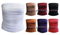 NEW LADIES RUCHED BANDEAU BOOB TUBE WOMEN VEST CROP BRA TOP ALL SIZES 8-14