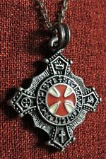 Knights Templar Cross Order Knight Medieval SCA Silver Plated Pendant Necklace