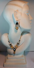 VINTAGE ORIGINAL ART DECO TRIBAL FAUX BONE BLACK ONYX SAUTOIR NECKLACE EARRINGS
