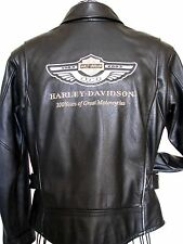 GENUINE HARLEY DAVIDSON 100th ANNIVERSARY WOMEN'S BLACK LEATHER JACKET~SIZE M