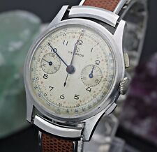 Vintage HELBROS Pilot Chronograph Valjoux 22 Stainless Steel 37.5mm Men's Watch