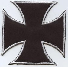 Iron On Embroidered Applique Patch Large Black and White Maltese Cross