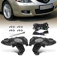 For 2004-2006 Mazda 3 4dr OEM Replacement Fog Lights Lamp Clear Lens +Harness
