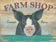 Farm Shop Pig Metal Sign, Kitchen Decor