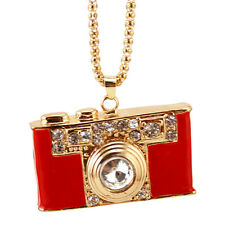 rhinestone camera pendant necklace,crystal camera charm necklace,red color