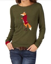 NWT Joules Intarsia Fox Sweater Jumper Angora Blend Green XS