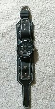 Wide Black Leather Biker, Punk Old School Watch Band