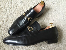 GUCCI Men's Shoes Black Leather Loafers Gold Horsebit Made in Italy EU 43 E,UK 9