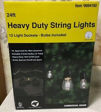 24 ft Heavy Duty Cafe Outdoor String Strand Lights 12 Light Sockets Bulbs Includ