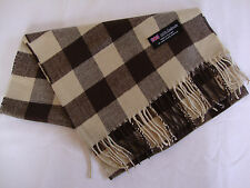 100% Cashmere Winter Scarf Scarve Scotland Warm Checkered Brown Sand Wrap Shawl