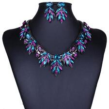 Charming Gemstone Necklace Chain and Earrings Crystal Jewelry Set Multicolor