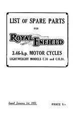 1931 Royal Enfield 3.46hp C31 CO31 parts book