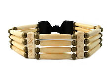 Handmade Antiqued Traditional 4 Row Buffalo Bone Hairpipe Tribal Choker Necklace