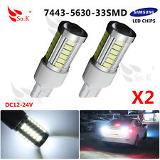 2XT20 6000K White 7443 5630 33SMD LED Dome Map Car Backup Reverse Lights bulbs