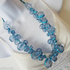 Beautiful turquoise blue bead statement necklace with ribbon [0786]