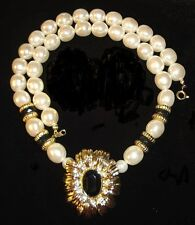 KJL Kenneth Jay Lane New York Collection Simulated Pearl & Black Onyx Necklace