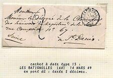 LETTRE  CACHET A DATE 15 /PORT PAYE / LES BATIGNOLLES POUR SAINT DENIS 1849