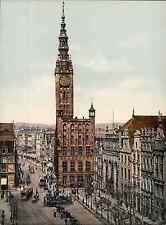 Danzig. Langenmarkt mit Rathaus und Börse.  PZ vintage photochromie, photochrom