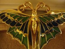 Large Vintage Guilloche Enamel Butterfly Pin Signed Brooch Napier
