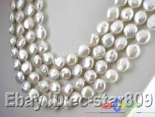 """p534 LONG 100"""" 11MM WHITE COIN FRESHWATER PEARL NECKLACE"""