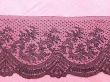 VINTAGE FRENCH BLACK CHANTILLY LACE UNUSED 150 CMS & 27 CMS WIDE VERY PRETTY