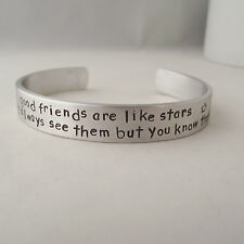 "Handmade Personalised ""good friends are like stars...""  Statement Cuff Bangle"