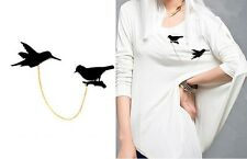 JLM's New Fashion hot Selling Nice Birds Gold Chain Collar Pin Brooch Gift