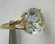 14K Large Aquamarine Ring 4.62CT Oval & Diamonds Great Faceting, STUNNING!
