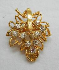 Forma De Hoja Vintage Oro Plateado Broche Con Cristales - 1960s
