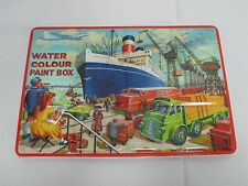 VINTAGE MADE IN ENGLAND PAGE LONDON LARGE TIN WATER COLOR PAINT BOX w 96 COLORS